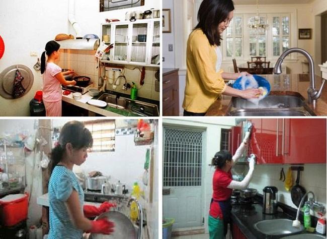 Công việc mỗi ngày của người giúp việc nhà là dọn dẹp nhà cửa, nấu ăn,...